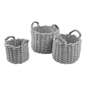 Lot de 3 paniers Mailla Gris clair