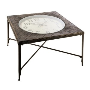 Table basse carrée Pendule Chrono Grise