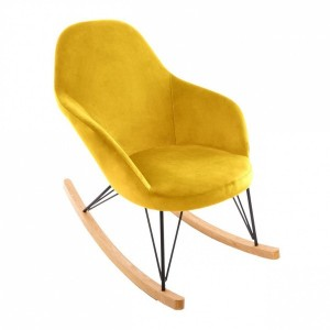 Rocking chair velours Ewan Jaune moutarde