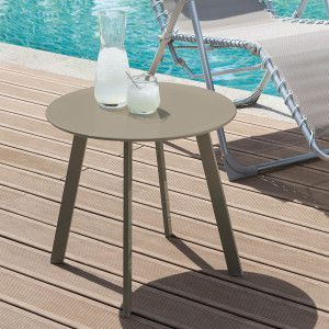 Table d'appoint ronde Saona (D50 cm) - Taupe mat
