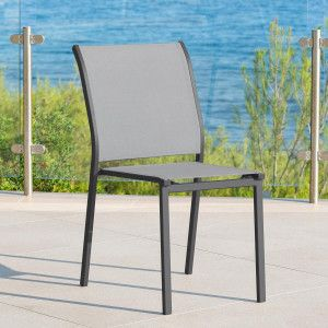 Chaise de jardin alu empilable Essentia -Gris galet/Gris graphite