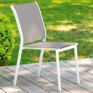 Chaise de jardin alu empilable Essentia -Marron noisette/Blanc