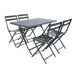Table de jardin rectangulaire pliante Métal Greensboro (110 x 70 cm) - Gris graphite