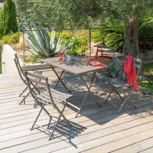 Mesa de jardín plegable rectangular Metal Greensboro (4 pers.) - Marrón