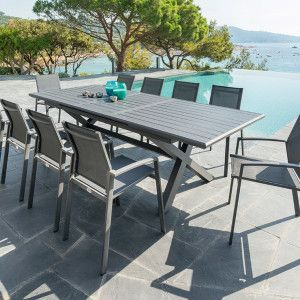 Table de jardin extensible Aluminium Axiome (279 x 113 cm) - Graphite