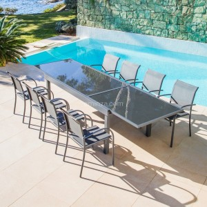 Table de jardin extensible 12 places en verre Murano (320 x 100 cm) - Anthracite