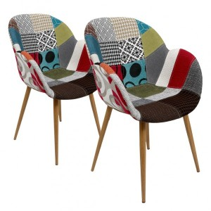 Lot de 2 fauteuils Oscar Patchwork Multicolore