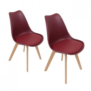 Lot de 2 chaises Stuffed Bordeaux