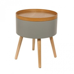 Table d'appoint Coffre Rond Gris