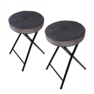 Lot de 2 tabourets effet velours Margot Gris