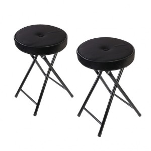 Lot de 2 tabourets effet velours Margot Noir
