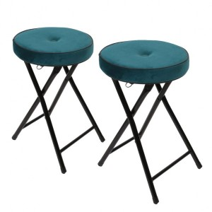 Lot de 2 tabourets effet velours Margot Bleu canard