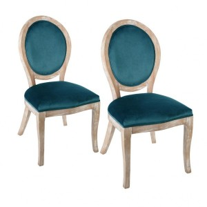 Set di 2 chaises effetto velluto Cleon Blu anatra