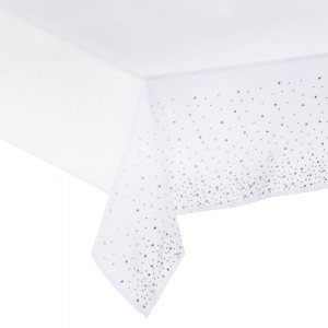 Nappe rectangulaire (L240 cm) Strass Blanc