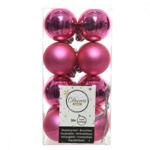 Lot de 16 boules de Noël (D40 mm) Alpine Rose flashy