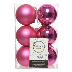 Lot de 12 boules de Noël (D60 mm) Alpine  Rose flashy