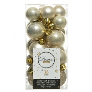 Lot de 26 boules de Noël assorties Alpine Perle