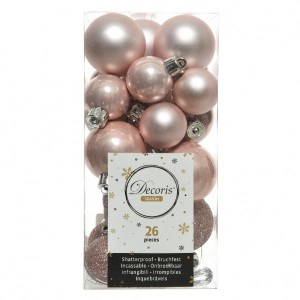 Lot de 26 boules de Noël assorties Alpine Rose poudré