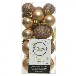 Lot de 26 boules de Noël assorties Alpine Beige