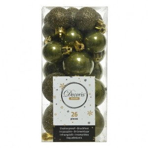 Lot de 26 boules de Noël assorties Alpine Vert mousse
