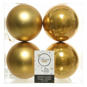 Lot de 4 boules de Noël (D100 mm) Alpine jaune moutarde