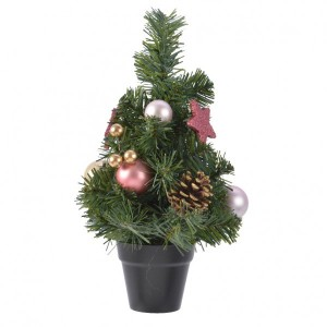 Sapin artificiel de table décoré Boulia H30 cm Rose