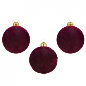 Lot de 3 boules de Noël (D80 mm) Cassy Bordeaux