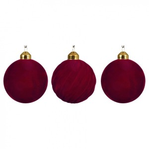 Lot de 3 boules de Noël (D80 mm) Flock Rouge