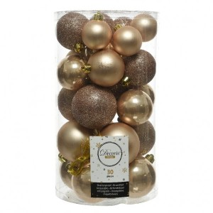 Lot de 30 boules de Noël assorties Alpine Beige