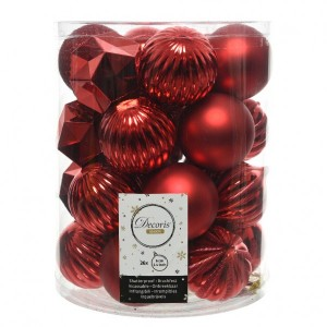 Lot de 26 boules de Noël (D60 mm) Alpine mix Rouge