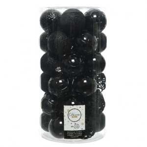 Lot de 37 boules de Noël (D60 mm) Alpine mix Noir