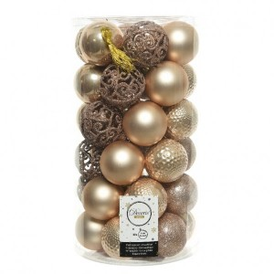 Set van 37 kerstballen (D60 mm) Alpine mix Beige