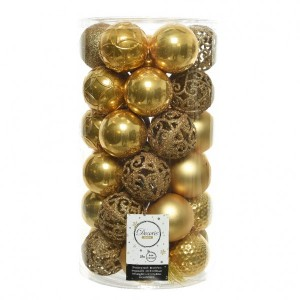 Lot de 37 boules de Noël (D60 mm) Alpine mix jaune moutarde