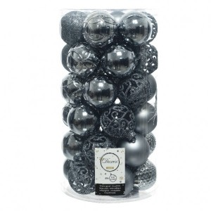 Lot de 37 boules de Noël (D60 mm) Alpine mix Bleu gris