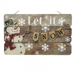 LED Schild Let it snow Warmweiß 6 LEDs