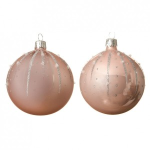 Lot de 6 boules de Noël (D80 mm) Goutella Rose poudré
