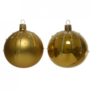 Lot de 6 boules de Noël (D80 mm) Goutella jaune moutarde