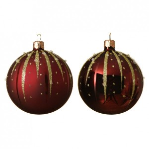 Lot de 6 boules de Noël (D80 mm) Goutella Bordeaux