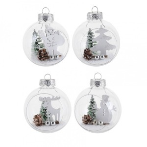 Set van 12 kerstballen (D80 mm) Bos Wit
