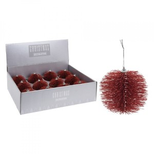 Lot de 12 boules de Noël (D100 mm) Louva Rouge