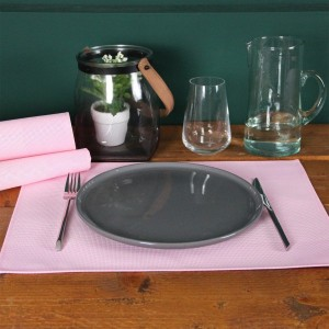 Set van 6 placemats Bicolor Lichtroze