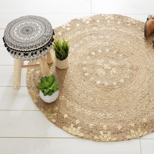 Tapis jute (D115 cm) Gold shine Or