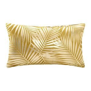 Coussin rectangulaire velours Or Tropic Jaune ocre