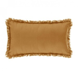 Coussin rectangulaire Frange Jaune ocre