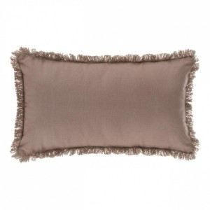 Coussin rectangulaire Frange Taupe