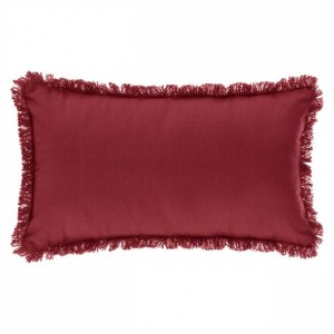 Coussin rectangulaire Datara franges Rouge