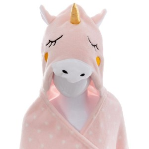 Plaid à capuche Licorne Rose