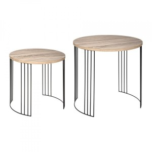 Lot de 2 tables d'appoint rondes Neile Naturel