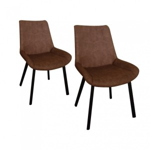 Lot de 2 chaises Boston Marron