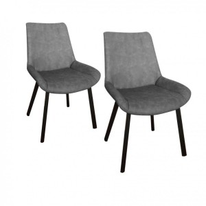 Lot de 2 chaises Boston Grises